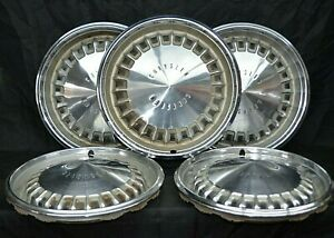 1969 69 Chrysler New Yorker Newport Hubcaps Wheel Covers Mopar Oem Set Of 5