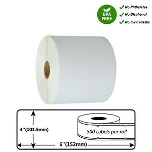 Direct Thermal Shipping Paper 500 Labels Per Roll Tape 4 X 6 For Zebra Gk420t