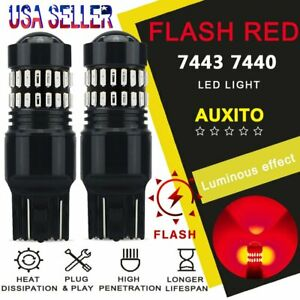 Auxito 7440 7443 Red Led Strobe Flash Blinking Brake Tail Light Parking Bulbs A2