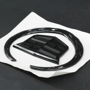 4 In Emblem Rear Grille Hood Ornament Badge Logo Symbol Gloss Black For Cadillac
