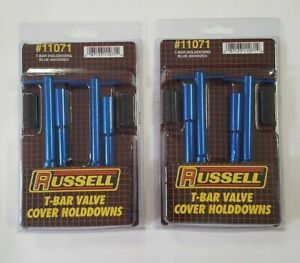 Russel By Edelbrock S B Chevy Blue Tall T Bar Valve Cover Hold Down Kit 283 350