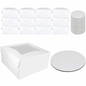 Bakery Cake Boxes 10 X 10 X 5 With Display Window And Cake Boards 10 Inch Fo