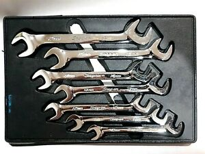 Snap On Usa 7 Pc Metric 4 Way Open End Angle Wrench Set 10 To 17mm Vsm807b