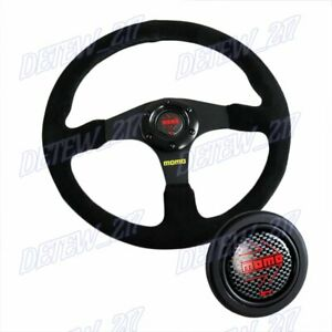 Universal 350mm Racing Steering Wheel W Suede Leather Carbon Horn For Momo Hub