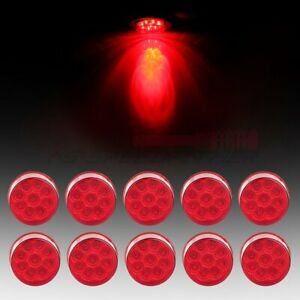 10 2 Red 9 Led Side Marker Clearance Tail Light Kits Round For Truck Trailer