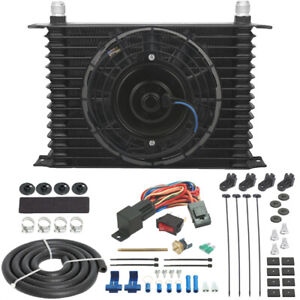 13 Row 10an Engine Transmission Oil Cooler Electric Fan In Hose Thermostat Kit