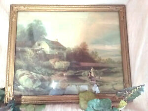 Antique Gold Wood And Gesso Picture Frame 22 5 X 19 Old Mill Print