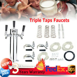 Stainless Steel Chrome Triple Taps Faucets Draft Beer Tower 3 Faucets Silver Usa
