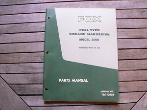 Fox Pull Type Forage Harvester Model 3000 Parts Manual Catalog Book Koehring