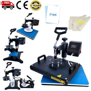 5in1 Combo Heat Press Machine Sublimation Paper Diy T shirts Mugs Plates Hats