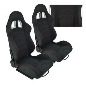 2 Universal Black Leather Racing Seat Red Stitch Reclinable Cloth Left Right