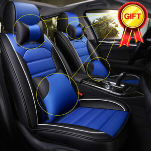 Deluxe Universal 5 Seats Pu Leather Car Seat Covers Cushions Full Front Rear Us