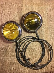 Vintage Pair Of Mopar Yellow Fog Lights Corcoran Brown Cincinnati Ohio