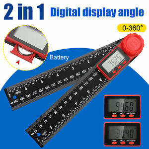 2 In 1 Electronic Lcd Digital Angle Finder 200mm 8 Protractor Ruler Goniometer
