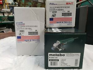 Metabo 4 1 2 Grinder Bundle W850 125 With 25 Grinding 50 Cutting Wheels