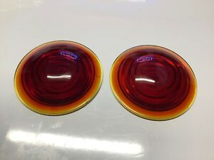 Pair Vintage Red Glass Lens 3 5 8 Truck Tail Light Stop Lamp Early Automobile