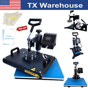 5in1 Combo Heat Press Machine Swing Away sublimation Paper For T shirt Mug Plate
