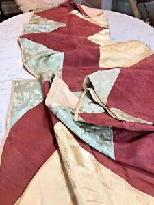 Vintage Antique 19th 18th C Damask Silk Cotton Quilt Fabric Remnant Historical