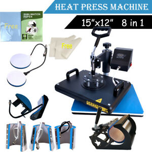8 In 1 Heat Press Machine Transfer T shirt Mug Hat Plate Cap Sublimation Paper