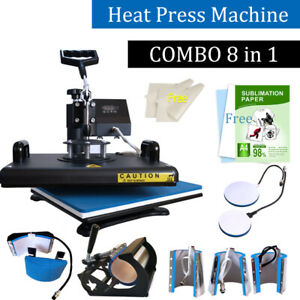 Combo 8in1 Heat Press Machine Digital Transfer Sublimation T shirt Plate Mug Hat