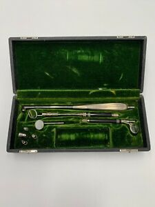 Antique Boehm Surgical dental Instrument Set In Box Lighted Medical Tools rare