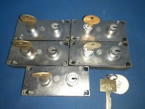 5 Lefebure 7737 Nickel Safe Deposit Locks Used