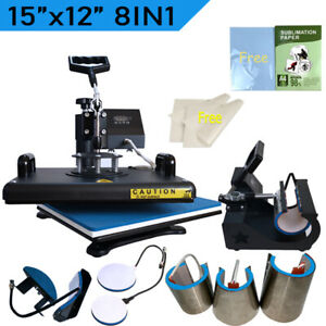 8 In 1 Heat Press Machine Combo Kits Sublimatino Paper For T shirt Mugs Plates