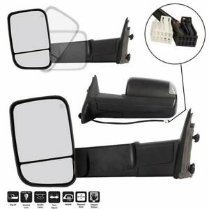 Power Heated Led Puddle Signal Qty2 Towing Mirrors For 2009 2012 Dodge Ram