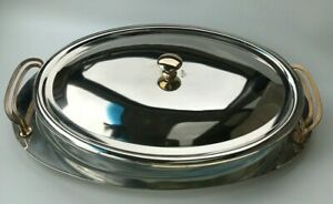 Silver Plated Polished Plate Serving Tray With Glass Dish Lid