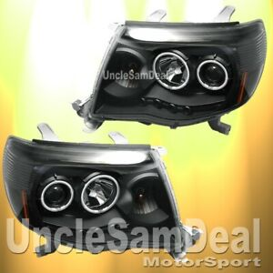 Toyota Tacoma Led Halo Rims Angel Eyes Projector Headlights Clear Black Pair