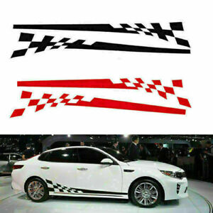 Black Red Car Racing Lattices Decal Stripe Side Body Skirt Vinyl Sticker Decor