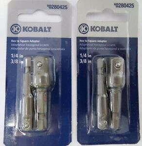 Kobalt 1873532 2 Piece Hex To Square Socket Adapters 1 4 3 8 2 Packs