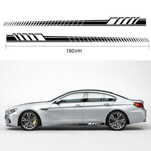 2pcs 190cm Black Car Side Body Racing Long Stripe Vinyl Decals Decor Sticker Diy