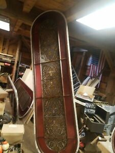 Antique Vintage Stained Glass Window Very Large 9 Foot Tall 30 Wide