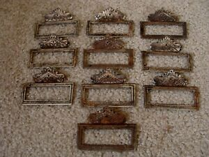 10 Antique Cast Iron Apothecary Drawer Pulls With Label Panel Victorian Original