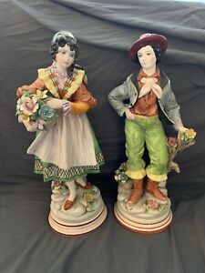 Antique 14 Man And Woman Porcelain Figurines Stamped Made In Italy