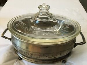 Pyrex Oval Glass Covered Casserole Dish With Silver Metal Stand Footed