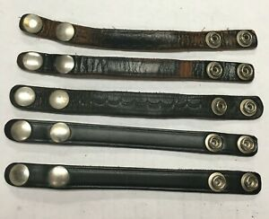 Vintage Leather Gun Belt Police Duty Belt Buddy Strap Snap Lot Of 5 New Used