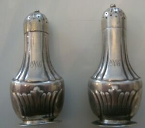 Antique 1906 Tiffany Co Sterling Silver Salt Shakers Pair Small Rare 2 3 8 H