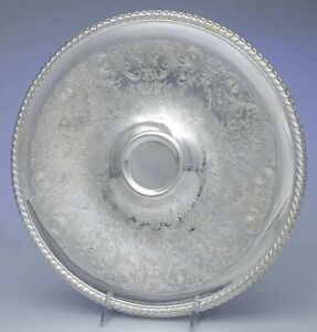 Wm Rogers Vintage Silver Plate Round Serving Tray 866