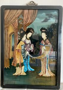 Antique Chinese Reverse Painting On Glass Court Ladies W Scroll Painting 20th C