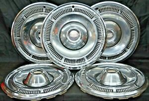 1969 1970 Mercury Monterey Hubcaps Marquis Colony Park 15 Oem Set Of 5