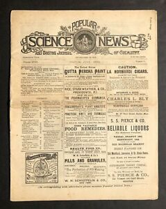 1884 Popular Science News Boston Journal Of Chemistry Ads Cholera Medical Et