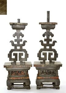 1930 S Chinese 2 Gold Painted Pewter Candlesticks Candelabra Candle Holder Mk