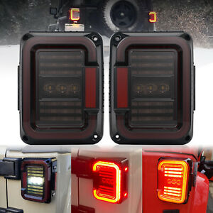 For Jeep Wrangler Jk Jku 2007 17 Smoke Led Tail Lights Brake Reverse Turn Signal