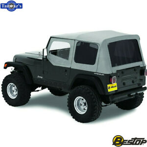 1988 1995 Jeep Wrangler Replace A Top Fabric Only Soft Top Charcoal