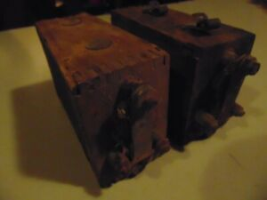 2 Vintage Model T Model A Battery Wood Box Ignition Coil Boxes