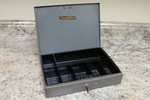 Vintage Asco Steelmaster Office Box W Key And Coin Drawer Cash Box