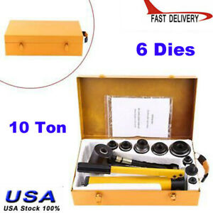 Hand Hydraulic Hole Punch Knockout Set W 6 Dies 22 60mm 10 Ton Hydraulic Metal