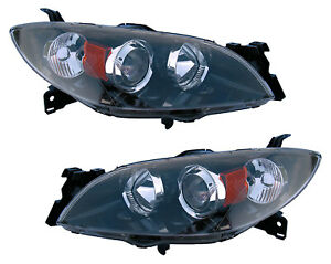 For 2004 2005 2006 2007 2008 2009 Mazda 3 Sedan Headlights Pair Set